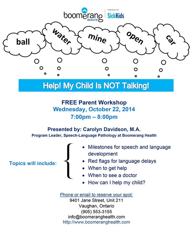 Workshop Help, My Child is Not Talking